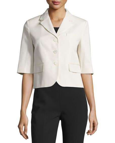 Michael Kors Half-Sleeve Button-Front Jacket, Muslin