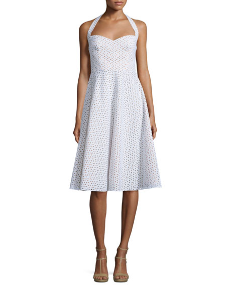 Michael Kors Collection Halter-Neck Eyelet Dress, Optic White