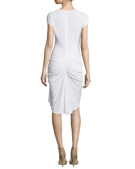 Cap-Sleeve Gathered-Waist Dress, Optic White