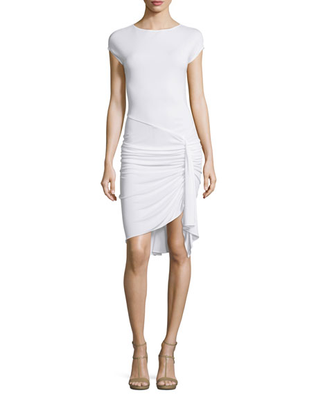 Michael Kors Collection Cap-Sleeve Gathered-Waist Dress, Optic