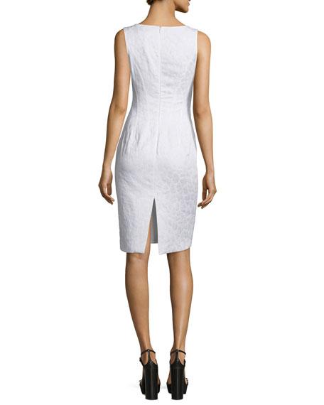 Sleeveless V-Neck Sheath Dress, Optic White