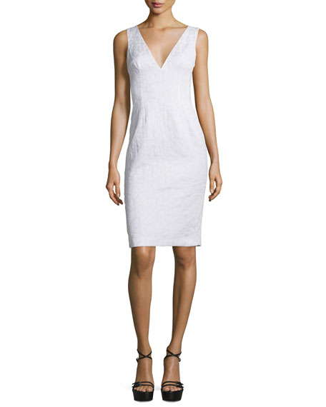 Michael Kors Collection Sleeveless V-Neck Sheath Dress, Optic