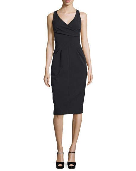 Michael Kors Collection Sleeveless Crossover Sheath Dress, Black