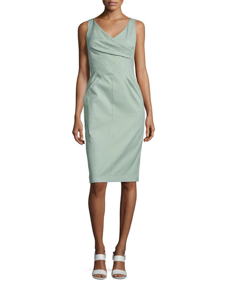 Michael Kors Collection Crossover-Bodice Gingham Sheath Dress,