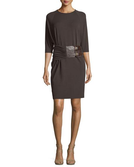Michael Kors CollectionHalf-Sleeve Double-Buckle Dress, Chocolate