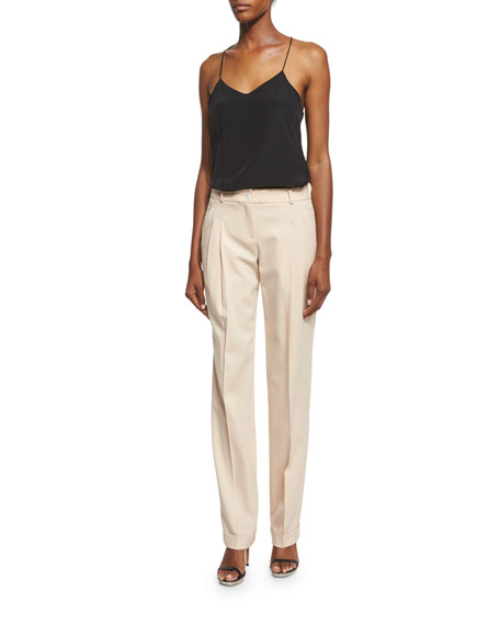 Michael Kors Mid-Rise Pleated-Front Pants, Nude