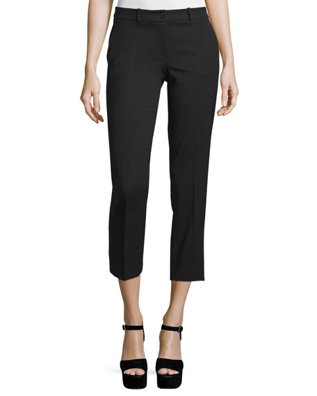Michael Kors Collection Straight-Leg Cropped Pants, Black