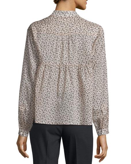 Long-Sleeve Mini Floral-Print Blouse, Nude/Black