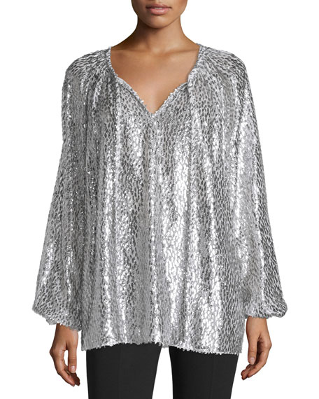 Michael Kors Collection Long-Sleeve Split-Neck Metallic Blouse, Silver