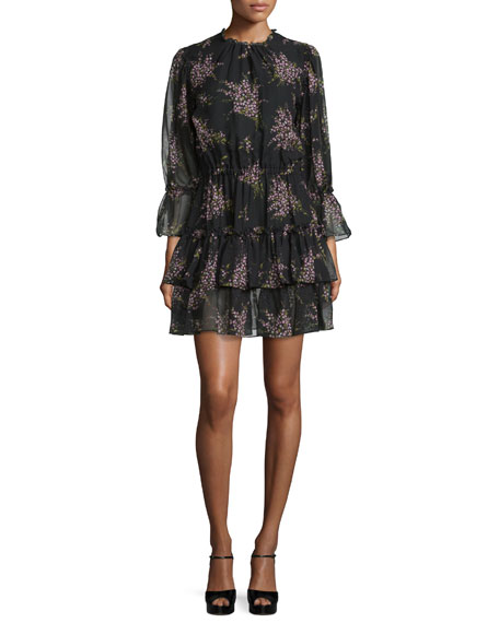 Michael Kors 3/4-Sleeve Tiered Ruffle Dress, Black/Oleander