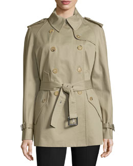 Double-Breasted Short Trench Coat, Sand