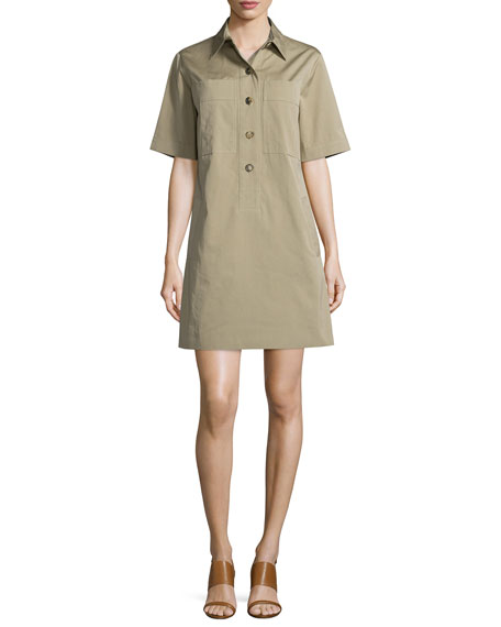 Michael Kors Collection Short-Sleeve Utility Shirtdress, Sand