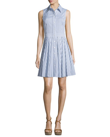 Michael Kors Collection Sleeveless Gingham Button-Front Shirtdress, ...