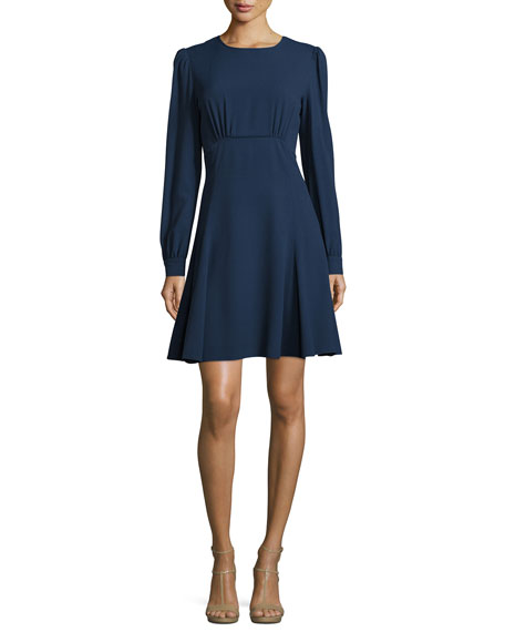 Michael Kors Collection Long-Sleeve Round-Neck Empire Dress,