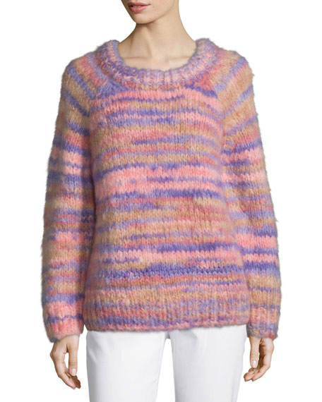 Michael Kors Collection Raglan-Sleeve Hand-Knit Sweater, Wisteria