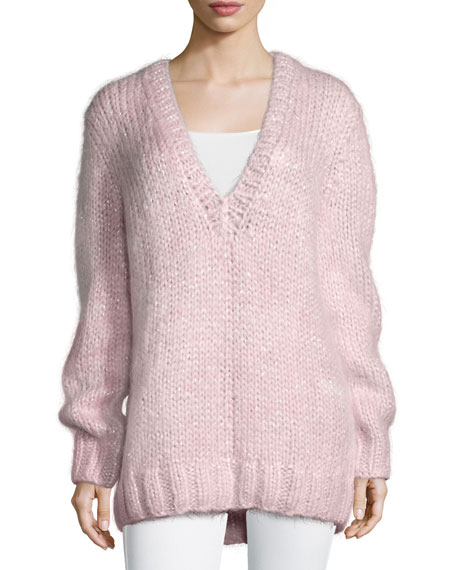 Michael Kors Collection Long-Sleeve V-Neck Sweater, Oleander