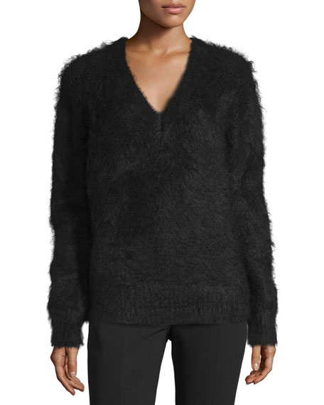 Michael Kors Collection Long-Sleeve V-Neck Sweater, Black