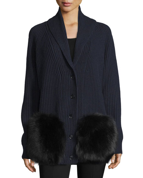 Michael Kors Collection Cashmere Cardigan W/Fur Pockets, Navy/Multi
