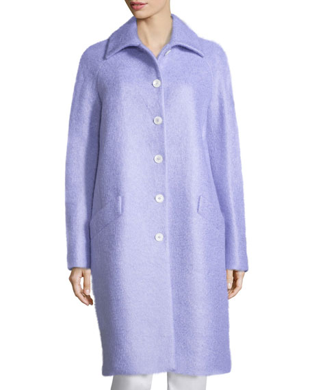 Michael Kors Collection Button-Front Wool-Blend Reefer Coat,