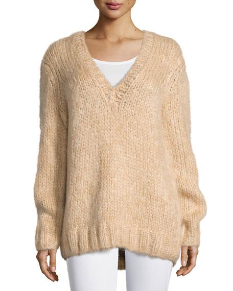 Long-Sleeve V-Neck Sweater, Nude