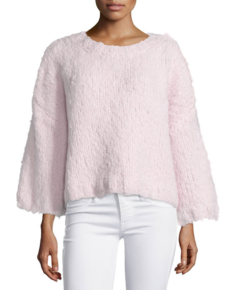 Michael Kors Collection 3/4-Sleeve Oversized Sweater, Blush