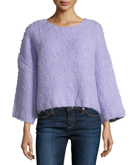 Michael Kors Collection 3/4-Sleeve Oversized Sweater, Thistle