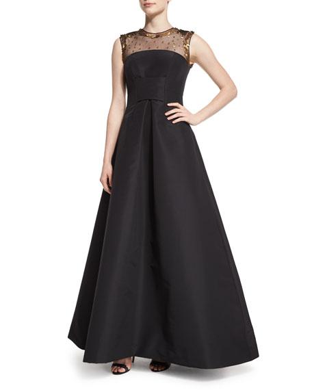 Pamella Roland Embellished-Yoke Fit-&-Flare Gown, Black