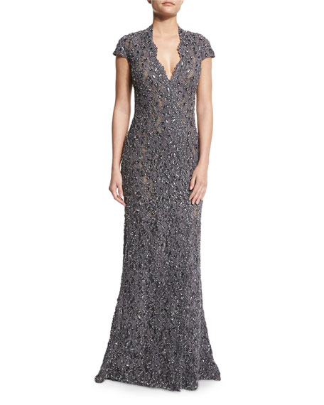 Cap-Sleeve Re-Embroidered Lace Gown, Granite