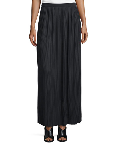 Long Pleated Skirt, Black