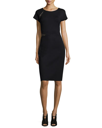 Short-Sleeve Ponte Dress W/Lace Inserts, Black