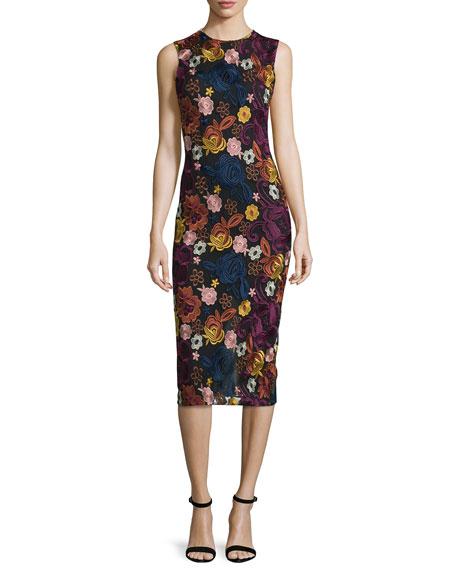 Alice + Olivia Nat Sleeveless Embroidered Midi Dress,