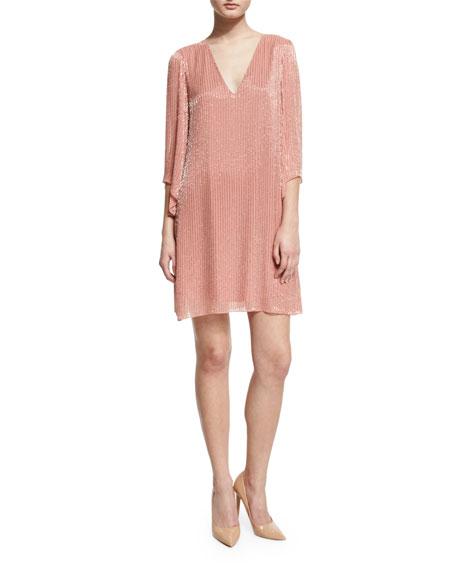 Alice + Olivia Tammin 3/4-Sleeve Embellished V-Neck Caftan,