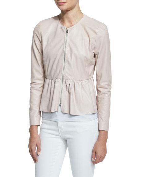 Zip-Front Leather Peplum Jacket, Pale Blush Online Cheap