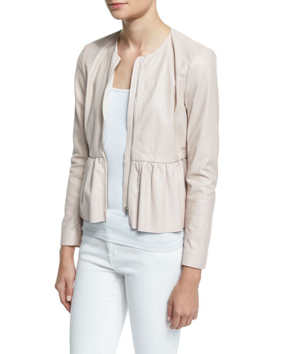 Zip-Front Leather Peplum Jacket, Pale Blush