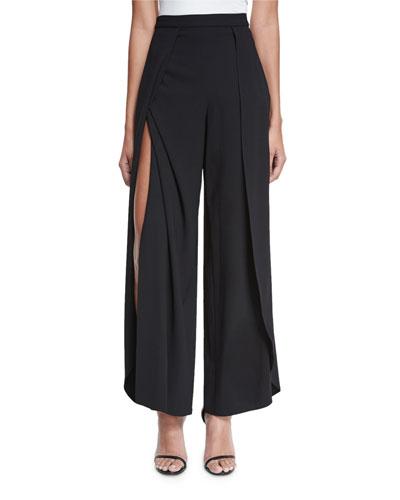 Larissa Layered Wide-Leg Pants, Black