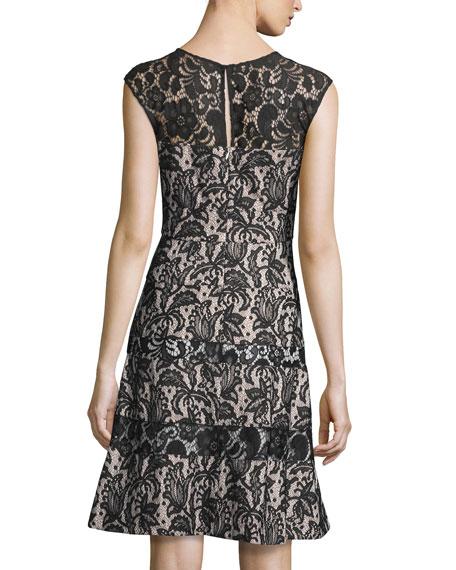 Sleeveless Lace A-Line Dress, Nude/Black