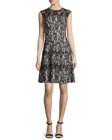 Kay Unger New York Sleeveless Lace A-Line Dress,