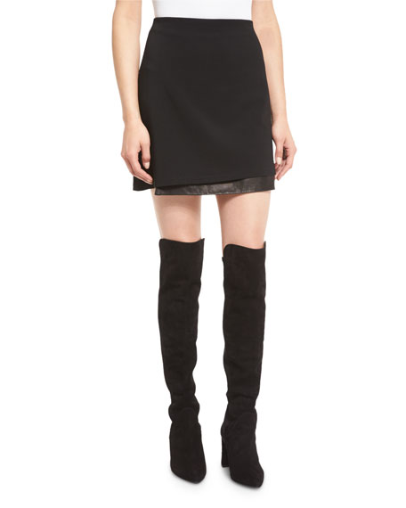 Darcie Double-Layer Leather-Combo Mini Skirt