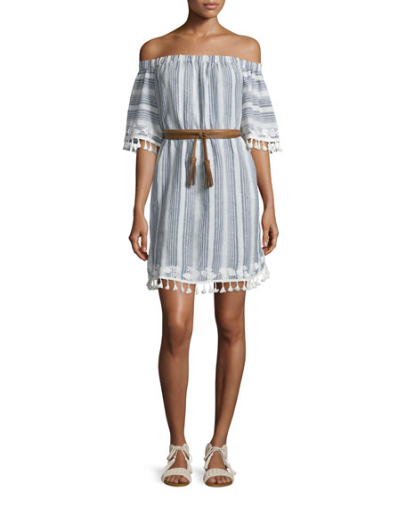 Thompson Off-The-Shoulder Shift Dress, Stripe
