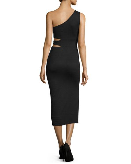 Margo One-Shoulder Midi Dress, Black