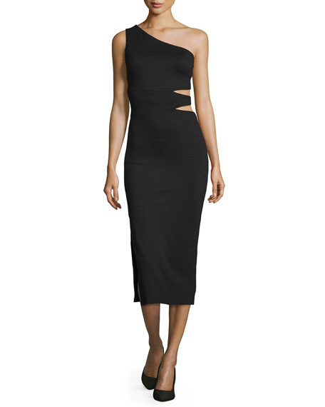 Alice + Olivia Margo One-Shoulder Midi Dress, Black