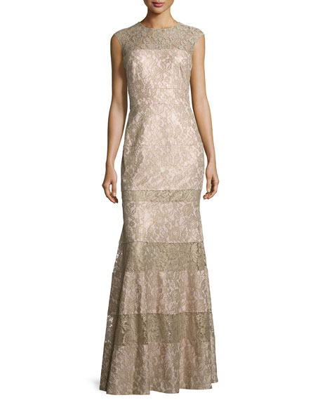 Kay Unger New York Floral Lace-Panel Flared Gown,