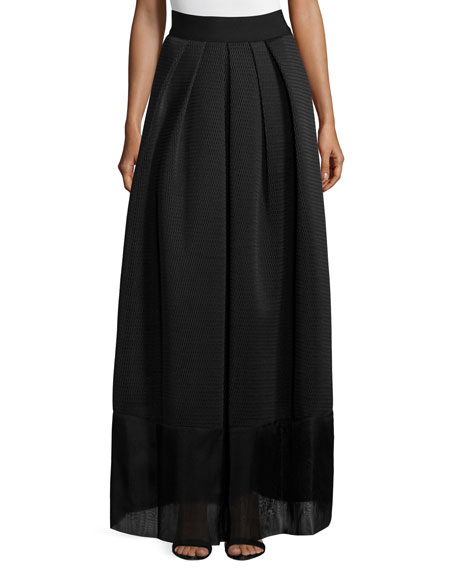 Kay Unger New York High-Waist Pleated-Front Full Skirt,