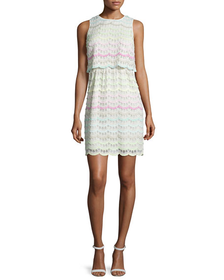 Kay Unger New York Sleeveless Eyelash-Lace Dress, White/Multi