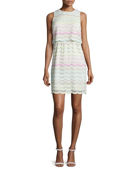 Kay Unger New York Sleeveless Eyelash-Lace Dress, White/Multi