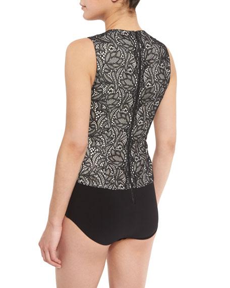 Zooey Lace V-Neck Bodysuit, Black/White
