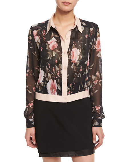Alice + Olivia Amalia Floral-Print Long-Sleeve Cropped Blouse