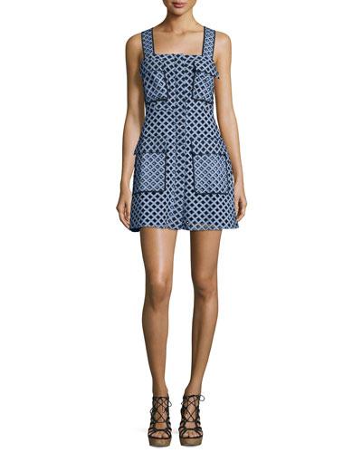 Sleeveless Laser-Cut Mini Dress, Blue/White