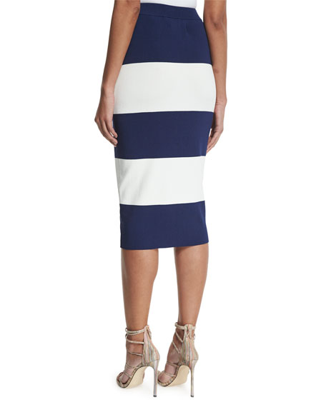Image 2 of 3: High-Waist Wide-Striped Pencil Skirt