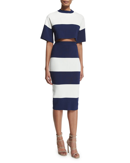 Image 3 of 3: High-Waist Wide-Striped Pencil Skirt